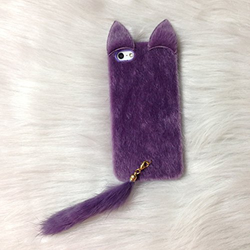Shark® Great gift! Warm your hand in winter,Luxury soft fur with tail case for IPhone 6/6S(4.7inch) (Purple)