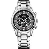 Hugo Boss Ambassador Chronograph Stainless Steel Mens Watch Black Dial Date 1513196 (Color: black)
