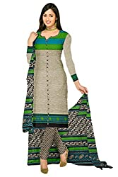 Araham Printed Grey Synthetic Polyester Dress Material/ Unstitched Salwar Suit