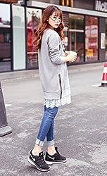 YL Women's Cotton Jumper Dress Lace Brim Dog Printed Grey