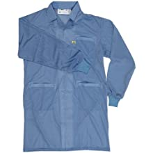 "Desco 73611 Smock Statshield Labcoat with Cuffs, 38-1/2"" Length, Small, Blue"