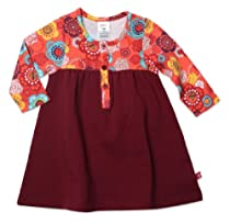 Zutano Baby-Girls Infant Doily Floral Henley Dress, Mandarin, 6 Months