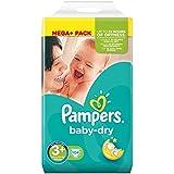 Pampers Baby Dry Windeln, Gr.3+ (Midi+) 5-10 kg Mega Plus Pack, 104 Stück