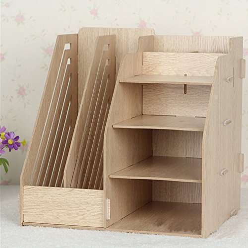 hooshion detachable wooden board desktop organizer shelf storage boxes 2 paper files holder. Black Bedroom Furniture Sets. Home Design Ideas