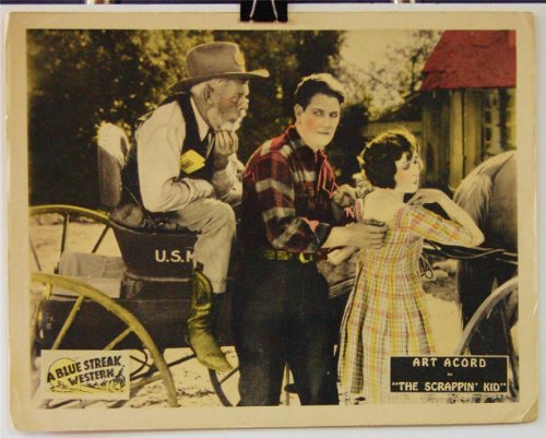 1926 The Scrappin' Kid Original Lobby Card Movie Poster Art Acord Silent Western front-1044951