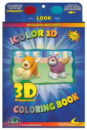 iColor 3D Playground (High Detail) Coloring Book. Color All Your Favorite Toys and Animals and Watch them Come to Life. (3D Glasses Included) - 1