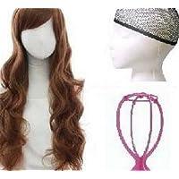 斜め 前髪 ゆるふわ モテかわ 巻き髪 ロング カール フル ウィッグ 高品質 耐熱 ネット スタンド付(MAUMU) (ライトブラウン)1453