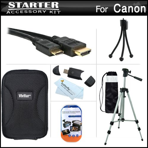 Starter Accessories Kit For The Canon Powershot Elph 110 Hs, Elph 320 Hs Digital Camera Includes Deluxe Carrying Case + 50 Tripod With Case + Mini Hdmi Cable + Usb 2.0 Card Reader + Lcd Screen Protectors + Mini Tabletop Tripod + Microfiber Cleaning Cloth