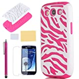 Pandamimi ULAK Pink White Zebra Combo Hard Soft High Impact Samaung Galaxy s3 i9300 Armor Case Skin Gel with free screen protector + stylus