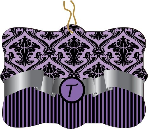 """Rikki Knighttm Letter """"T"""" Initial Purple Damask And Stripes Monogrammed Design Tree Ornament / Car Rear View Mirror Hanger front-619332"""