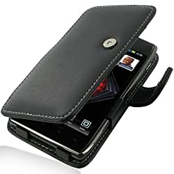 Motorola Droid Razr Maxx Leather Case - Book Type (Black) - PDair