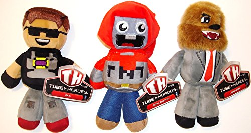 Bundle - 3 pc - Tube Heroes ExplodingTNT, Sky, and Jerome Plush