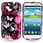 WIRELESS CENTRAL Brand BLACK Hard Snap-On Cover Case with PINK BUTTERFLY Design for SAMSUNG I747 GALAXY S III / I9300 With PRY- Triangle Case Removal Tool [WCC510]