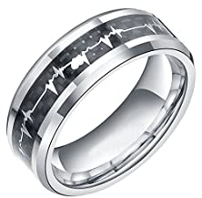 buy 8Mm Couples Matching Tungsten Carbide Rings With Cardiogram Carbon Fiber Forever Love Design For His Or Hers Men Women Comfort Fit Wedding Bands (10)