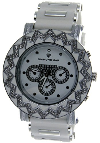 Hip Hop Big Ice Out Chrome Finish Bezel Watch With White Silicon Band