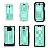 Retro Polka Dots cover case for Samsung Galaxy S4 Mini i9190 - White - T1060 - Mint Green