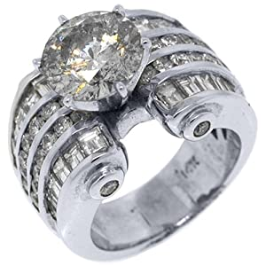 14k White Gold 6.74 Carats Round & Baguette Cut Diamond Engagement Ring