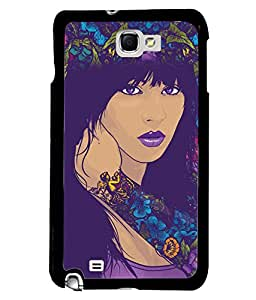 Fuson Flowers Pattern Girl Back Case Cover for SAMSUNG GALAXY NOTE 1 - D3886