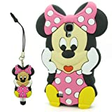 I.try 3d Disney Minnie Mouse Pink Soft Silicone Case Skin for Samsung Galaxy S4 SIV I9500 + Minnie Stylus Usps Shipping with Tracking Number