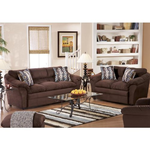 Inspiration Leather Curved 7-pcs Home Theater Sectional in Brown Living Room Décor