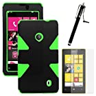 MINITURTLE, Dual Layer Tough Skin Dynamic Hybrid Hard Phone Case Cover, Clear Screen Protector Film, and Stylus Pen for Windows Smart Phone 8 Nokia Lumia 521 /T Mobile /MetroPCS (Black / Green)