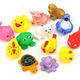 13pcs Cute Soft Rubber Float Sqeeze Sound Baby Wash Bath Toys Play Toys Animals Toys (Random colors and patterns)