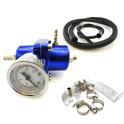Universal Adjustable Fuel Pressure Regulator 60-140 PSI Gauge & Hose Kit Blue (Regulator Fuel Universal compare prices)