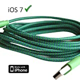 Braided unbreakable 8 Pin Charger and Sync Lead,Cable for Apple iPhone 5,iPad Mini,iPad 4G,iPod Touch 5G,Nano 7G - GREEN