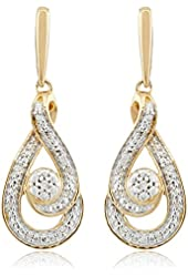 Gold-Plated Sterling Silver Earrings with White Diamond Studding