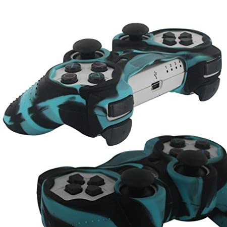 Skque Silicone Soft Protective Case Cover for Sony PlayStation 3 Controller, Camo Pattern, Black, Blue