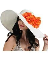 Luxury Lane Women's White Floppy Sun Hat with Orange Flower Appliques