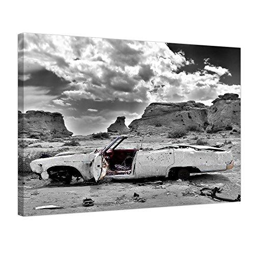 "Bilderdepot24 Leinwandbild ""Cadillac - weiss"" - 70x50 cm 1 teilig - fertig gerahmt, direkt vom Hersteller"