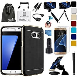 EEEKit 16 items All in 1 Kit for Samsung Galaxy S7 Edge,Bumper Style Slim Fit Case,Screen Protector,Car Mount/Charger,OTG Cable,Monopod,Tripod Mount (Gold)