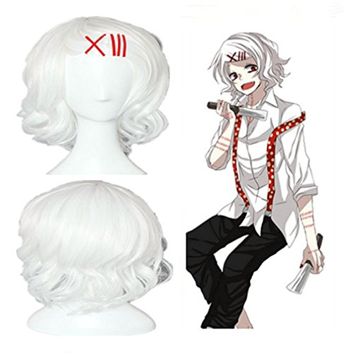 New Tokyo Ghoul Juuzou Suzuya Short Curly White Color Anime Cosplay Wig Party wig