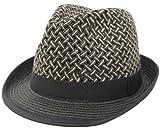 バイカラーバスケット織りペーパー中折れハット(ストローハット 麦わら帽 中折れ帽子)