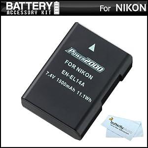 Replacement EN-EL14a, EN-EL14 Ultra High Capacity Li-ion Battery For Nikon D5500, D5300, D3300, D5100, D5200, D3100, Nikon Df and D3200, P7100, P7700 Digital Camera - Fully Decoded! (Nikon EN-EL14a Replacement) + ButterflyPhoto MicroFiber Cleaning Cloth