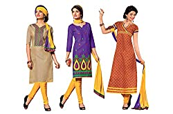 Jiya Presents 3 Top With 1 Bottom & 1 Dupatta.(Beige,Violet,Brown,Multi)