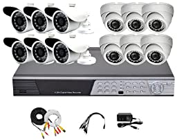 iPower Security SCCMBO0012-1T 16 Channel Full D1 DVR Security Surveillance System with 12 850TVL Cameras