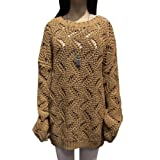 Women Pullover Crew Neck Long Sleeve Hollow Out Wave Loose Sweater Coffee S