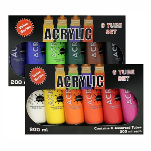 Hyatt's - 12 tubes de peinture acrylique couleurs assorties par - 200 ml