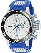 Invicta Corduba GMT Silver Dial Stainless Steel Blue Rubber Mens Watch 80208