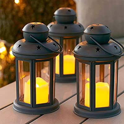 Set of 3 Grey Battery Operated LED Flameless Candle Lanterns for Indoor Outdoor Use