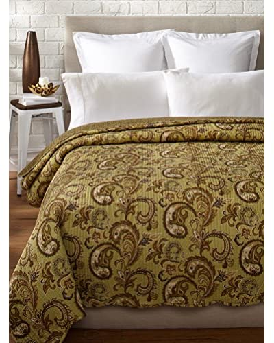 Warm Paisley Full/Queen Quilt, Sage/Brown