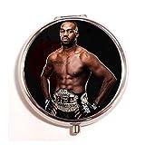 カスタム Jon Jones BONES KNOWS UFC MMA Fight のシルバーステンレス鋼ラウンドピルボックス薬ケースホルダーピルボックス