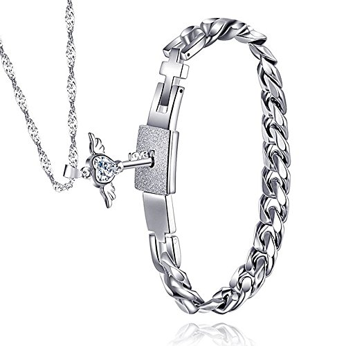 Evermarker Stainless Steel Bracelet and Angel's Heart Key Necklace Sterling Silver Set For Couple (Necklaces Bracelets)