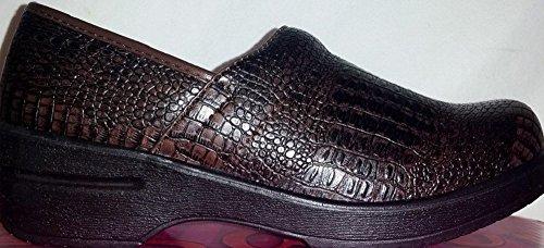 [Savvy by Jackie D Nursing Shoes, Brown Samll Croco, 6.5] (Jackie Nurse Shoes)