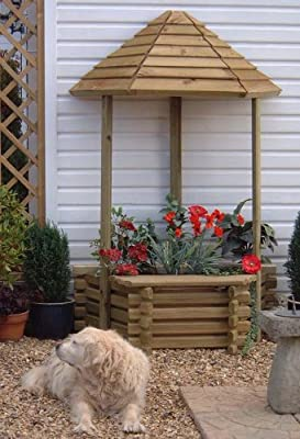 Wooden Flatback Garden Wishing Well Planter OGD103