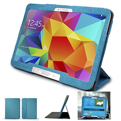 Mulbess - Samsung Galaxy Tab 4 10.1 CleverStrap Case Cover - Custodia in pelle Con Supporti Stand per Samsung Galaxy Tab 4 10.1 Colore Blu