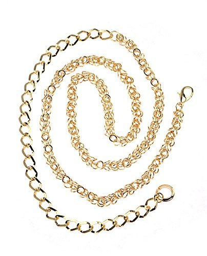 NYfashion101 Gold-Tone Dressy Adjustable Single Link Belly Chain Belt IBT1014G