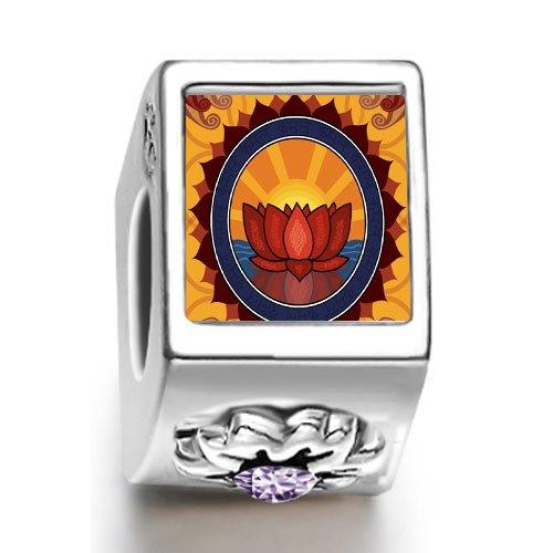 Soufeel Religion Buddhism Holy Lotus February birthstone Photo Flower European Charm Bead Bracelets